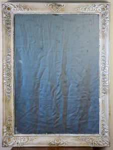 "19th Century French mirror with white patina 33¾"" x 25½"""