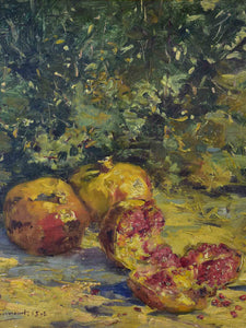 19th Century French still life painting - pomegranates, Ernest Honnorat 30 ¼'' x 25 ½''