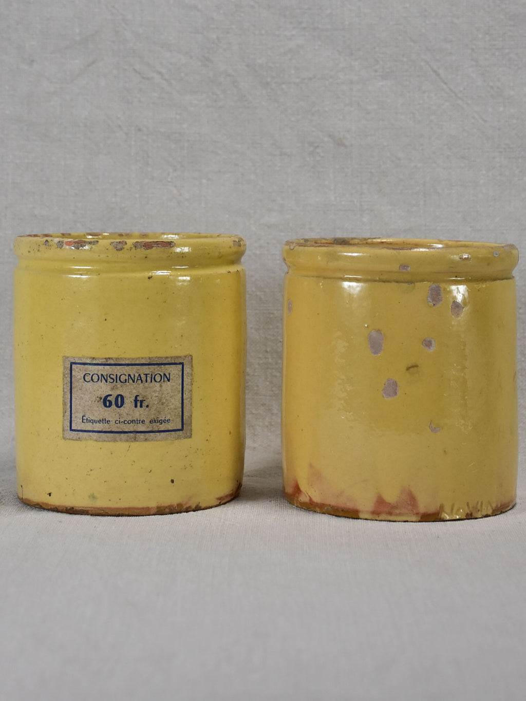 Two antique French yellow ware preserving jars 4¾""