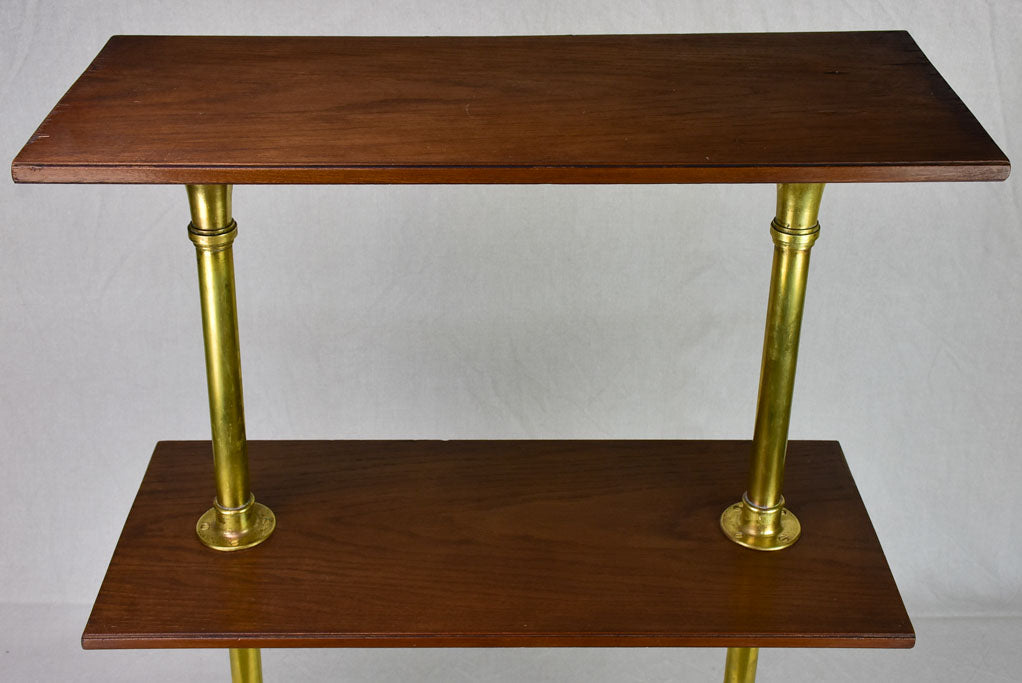 1950's display stand with three shelves - marble, brass and mahogany 33½""""