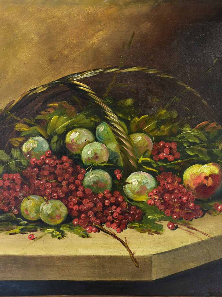 "Early 20th Century French still life painting of a fruit basket - oil on canvas 25½"" x 21¼"""