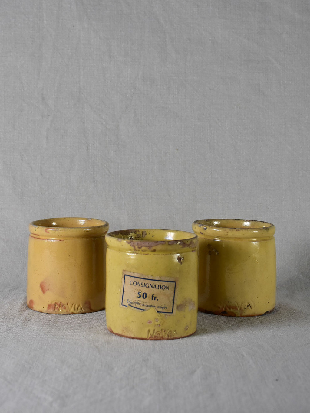 Three antique French yellow ware preserving jars 4""