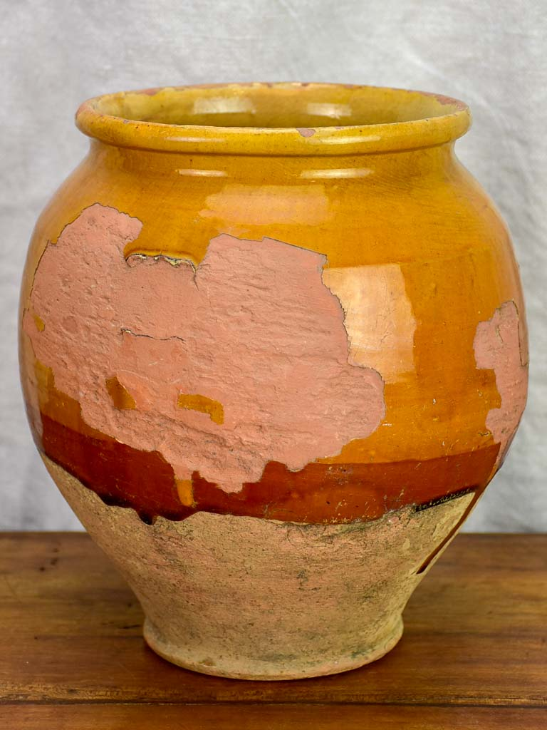 Early 20th Century French confit pot with orange glaze 9½""
