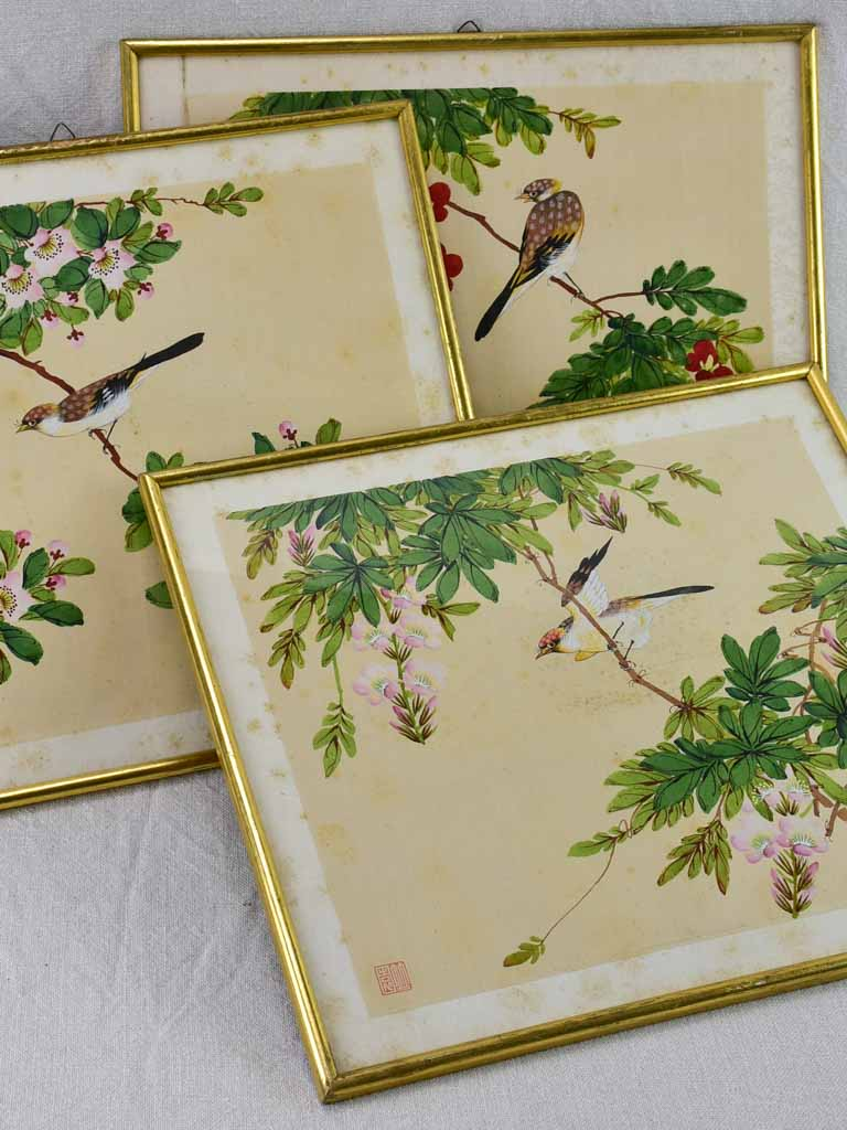 "Three late 19th Century Japanese floral paintings on silk 15¼"" x 13½"""