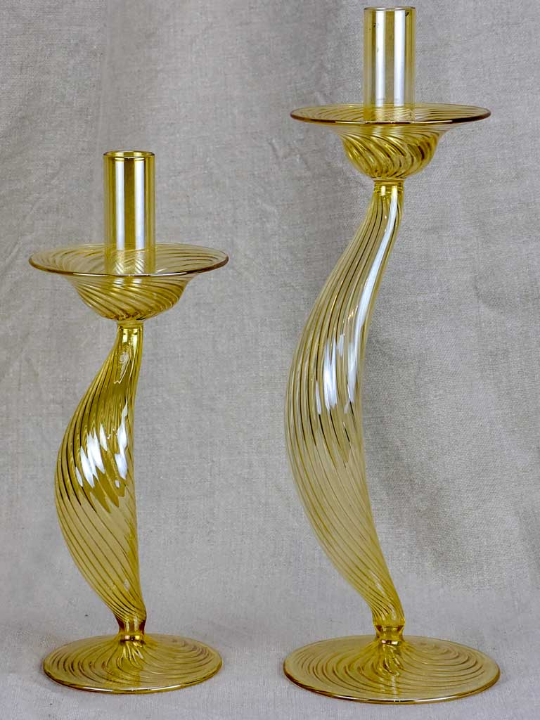 Two blown glass Murano candlesticks