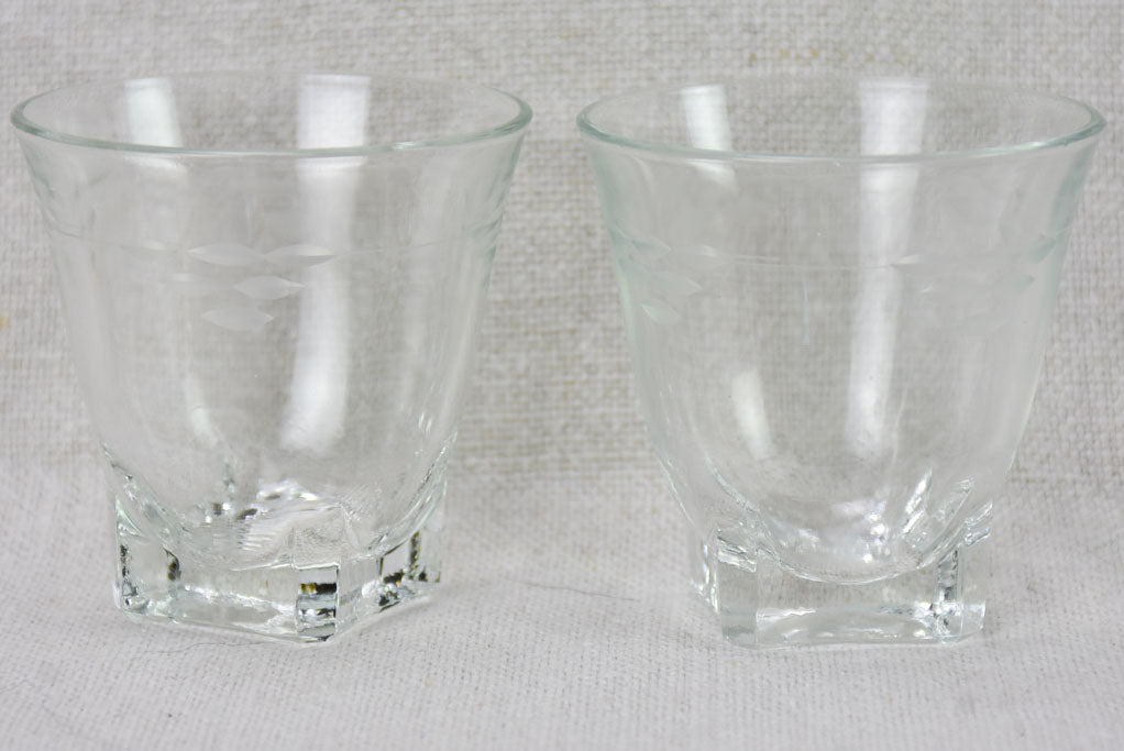 8 vintage digestif glasses with etched decoration
