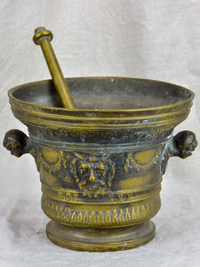 Antique bronze apothecary mortar and pestle