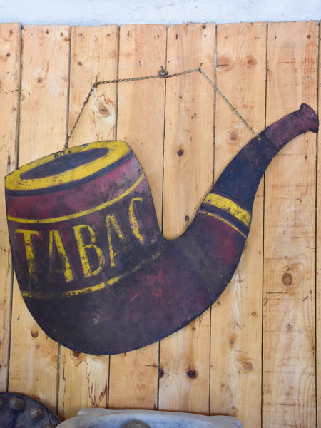 Early 20th century French tabac sign in the shape of a large pipe