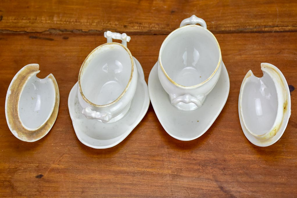 Pair of small antique French mustard serving dishes with lids
