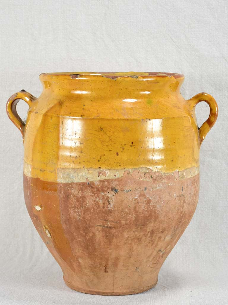 Very large antique French confit pot with yellow glaze 12¼""