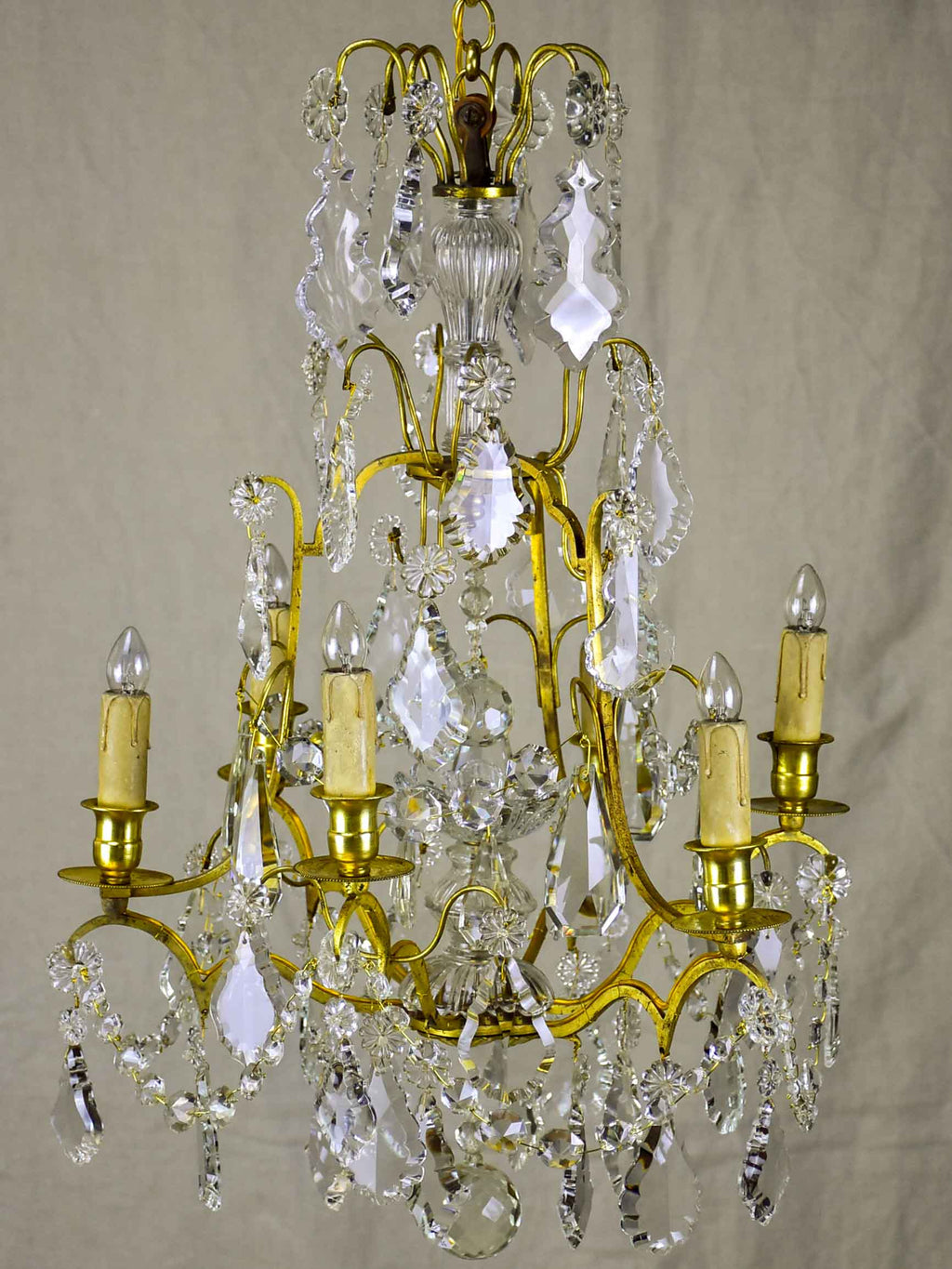 A small antique French crystal chandelier - 6 lights