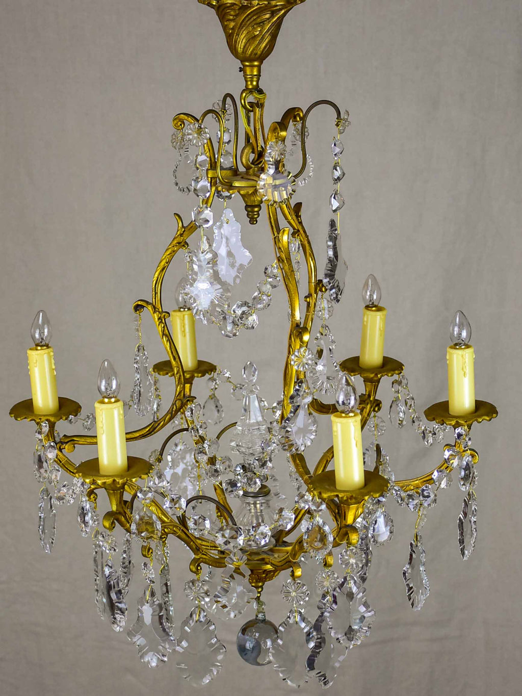 Antique French crystal chandelier - 6 lights