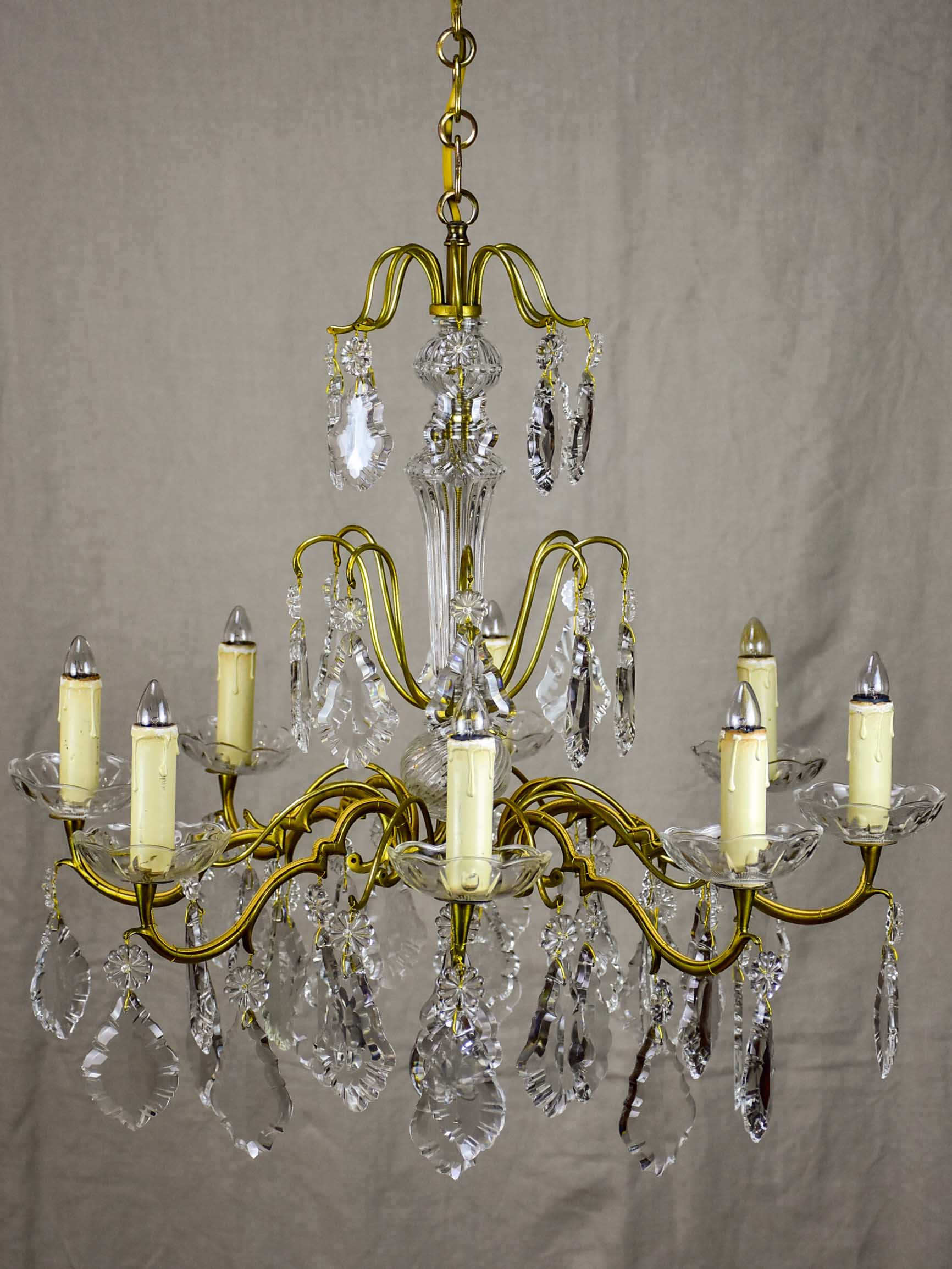 Antique French crystal chandelier - 8 lights
