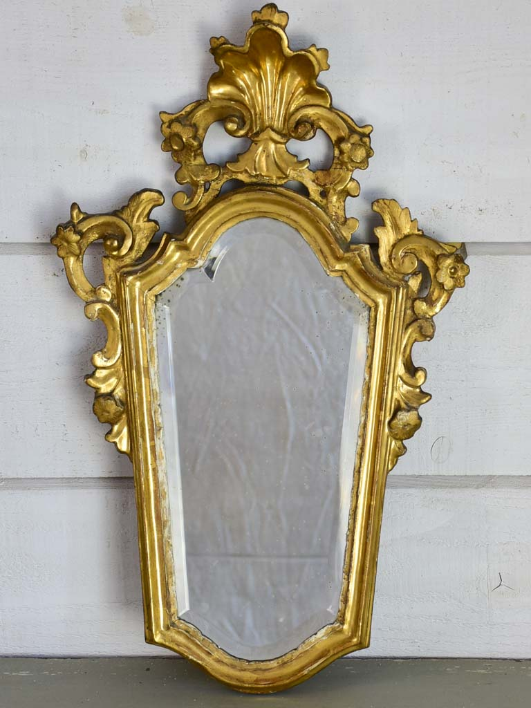 "Louis XV mirror with gilt frame and beveled glass 24½"" x 15"""