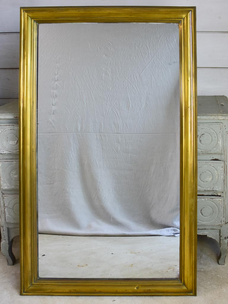 "Large early 20th Century French bistro mirror with brass frame and original mirror 32¼"" x 53½"""