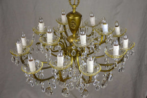 Vintage French crystal chandelier - two tiers, 18 lights