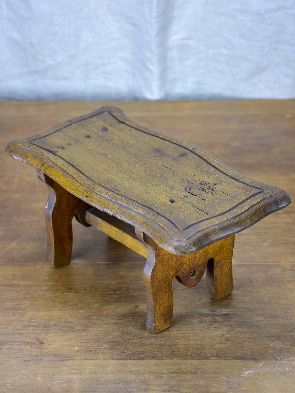 Antique French wooden footstool
