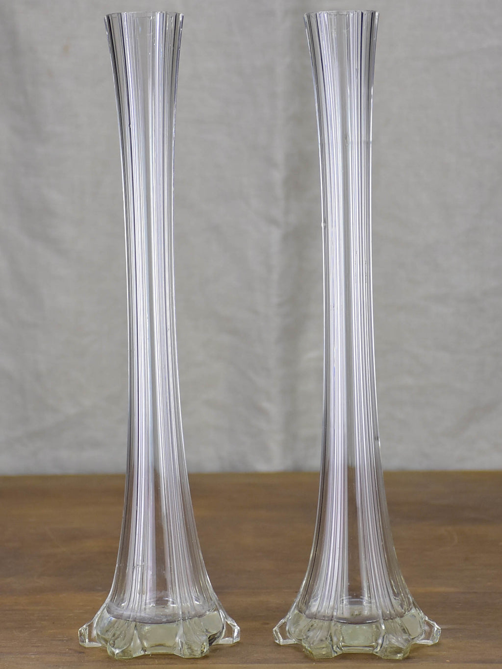 Two antique French solifleur glass vases - tall