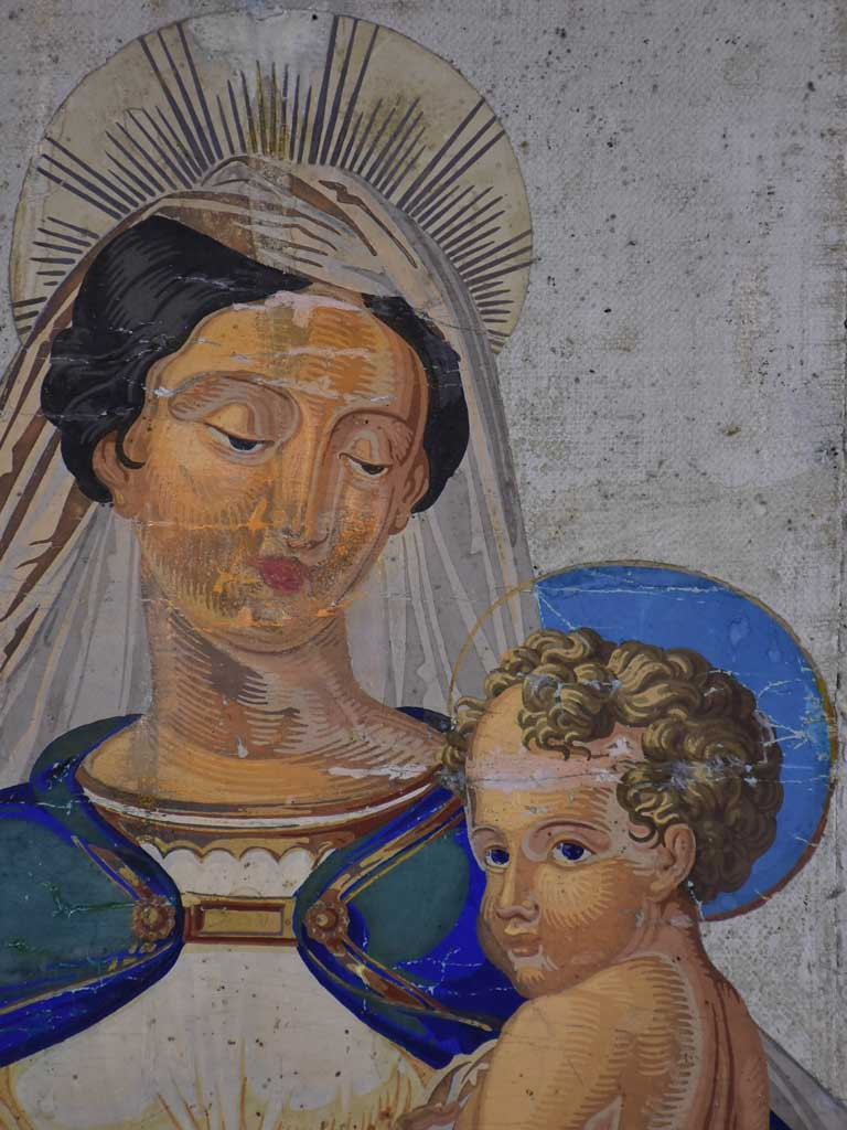 19th Century Italian Iconographic painting - Madonna and Child