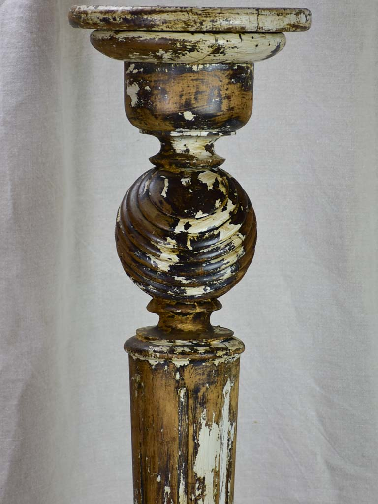 Timeworn French pedestal - twisted wooden column 43""