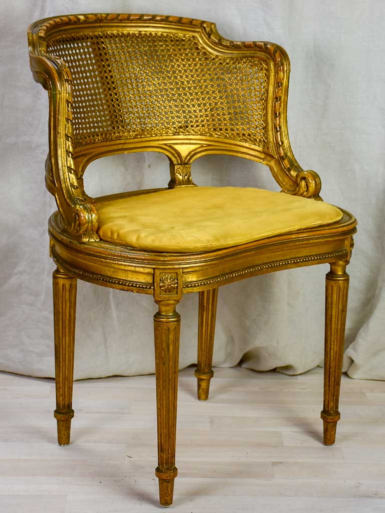 Gilded Napoleon III desk chair with cane