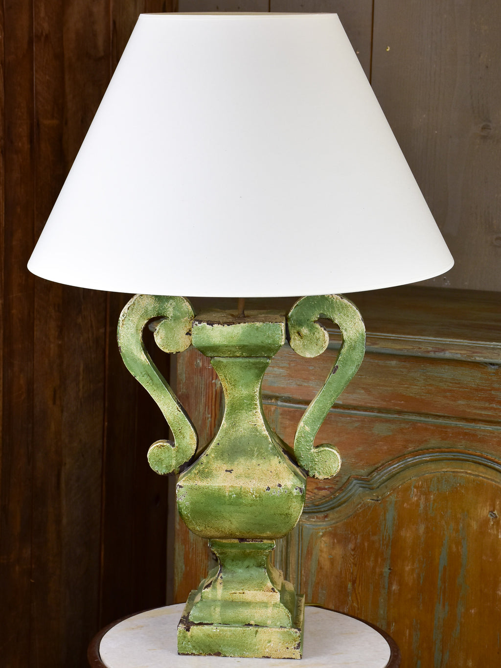 Vintage French lamp with green tole base