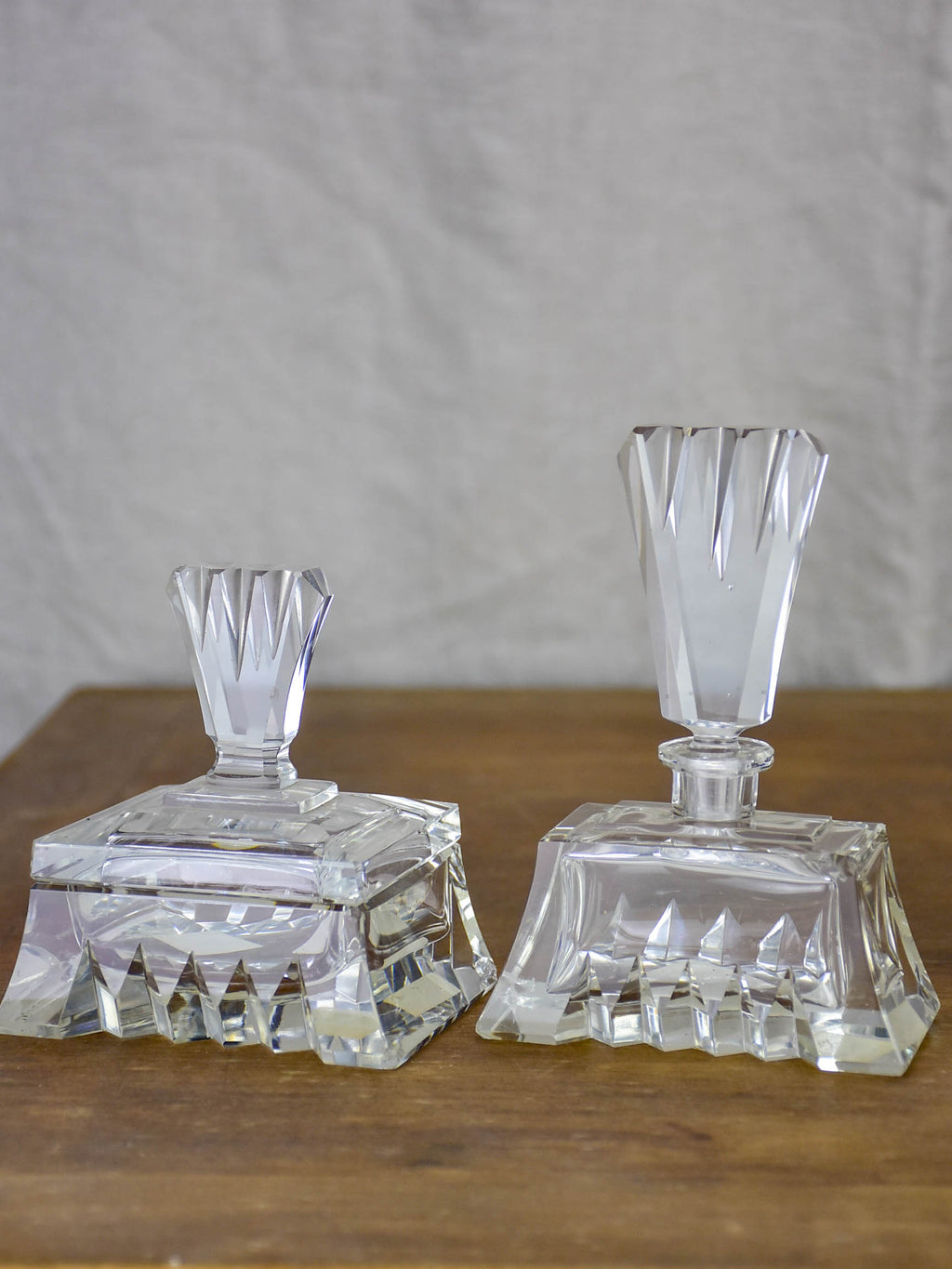 Antique French crystal perfume flask and vanity container