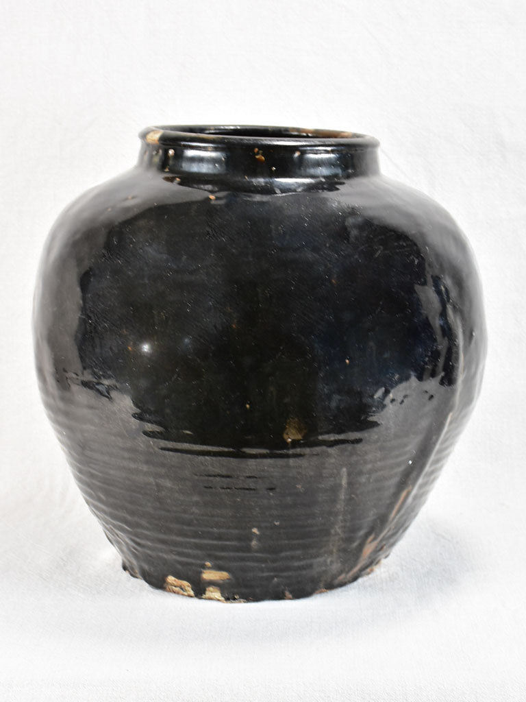Large decorative antique pot with black glaze and ribbed base 14½""