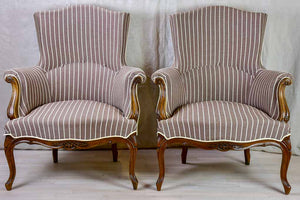 Pair of antique French bergere Napoleon III armchairs with striped brown fabric
