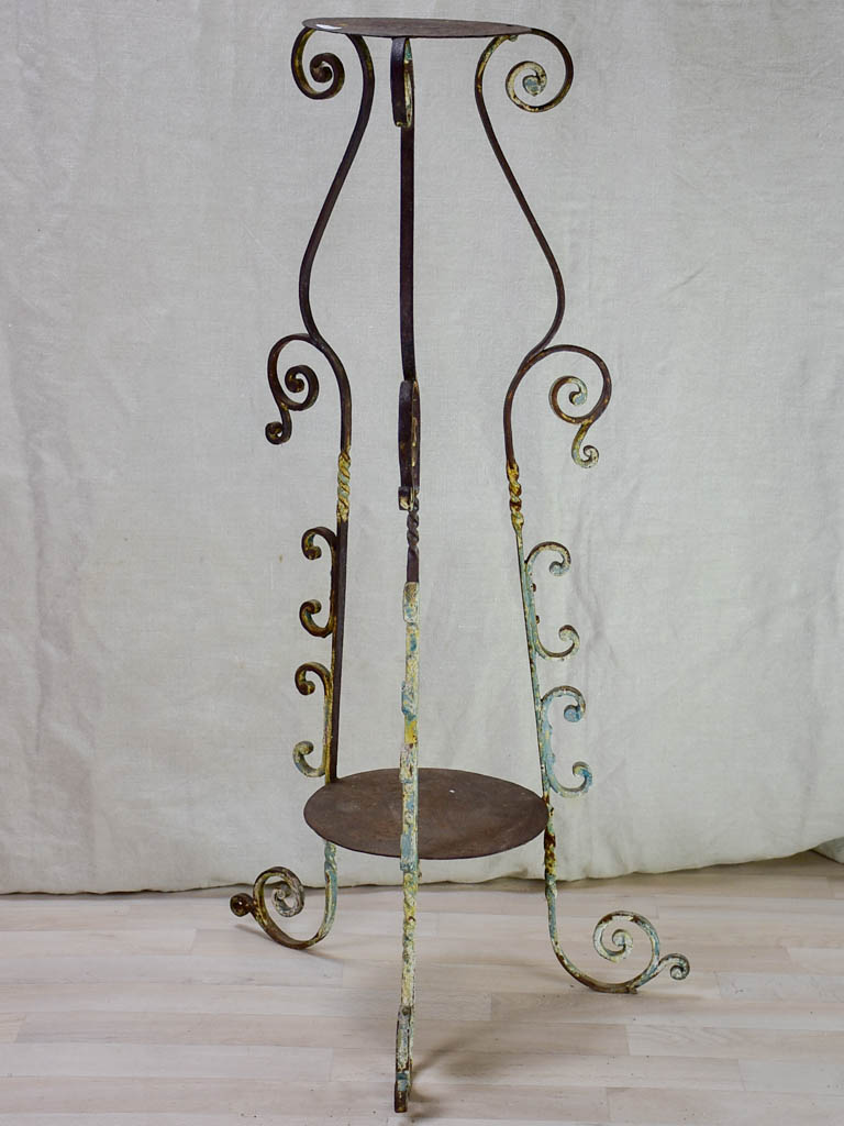 19th Century French wrought iron plant stand 39½""