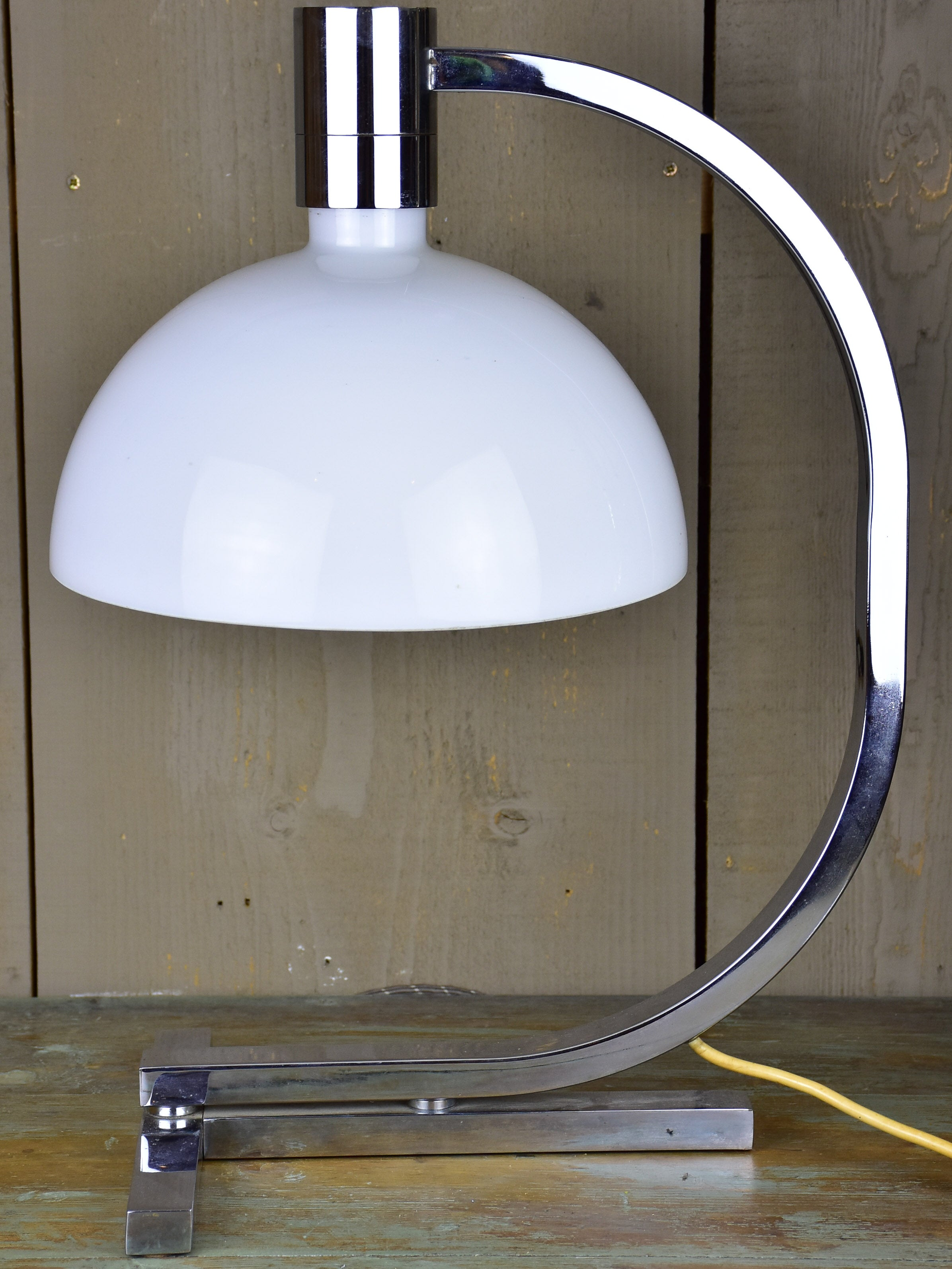 Mid-century modern French table lamp - milk glass and chrome