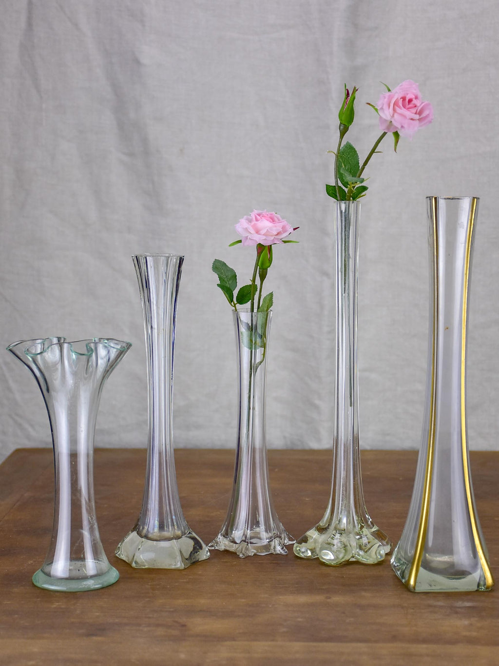 Collection of five antique glass vases