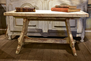 Chunky and rustic Swiss table with white patina