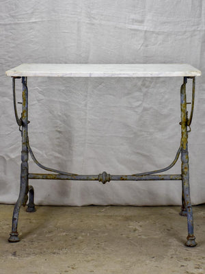 "Small 19th Century rectangular garden table with marble top and blue iron base 22¾"" x  32¼"""