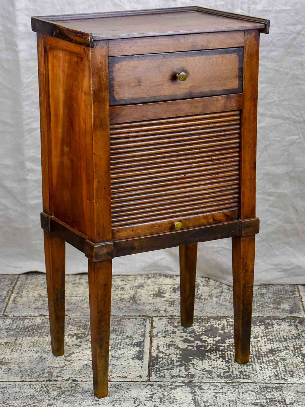 Antique French nightstand with curtain cupboard