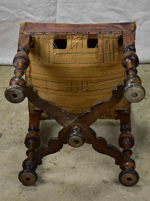 Pair of 17th Century Swiss walnut and leather chairs