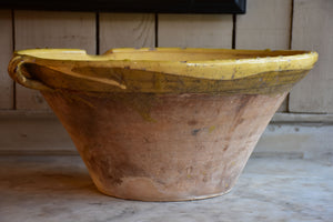 Large 19th century preserving bowl with yellow glaze
