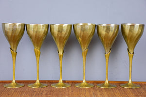 Six vintage wine glasses