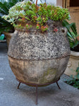 Vintage Spanish garden planter with iron stand