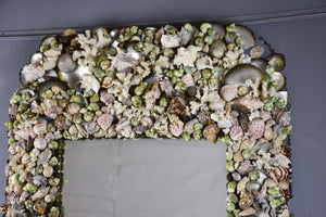 Large mirror with sea shell frame