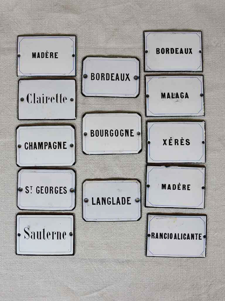 "Rare set of enamel wine cellar labels - 1900's 4"" x 2¾"""