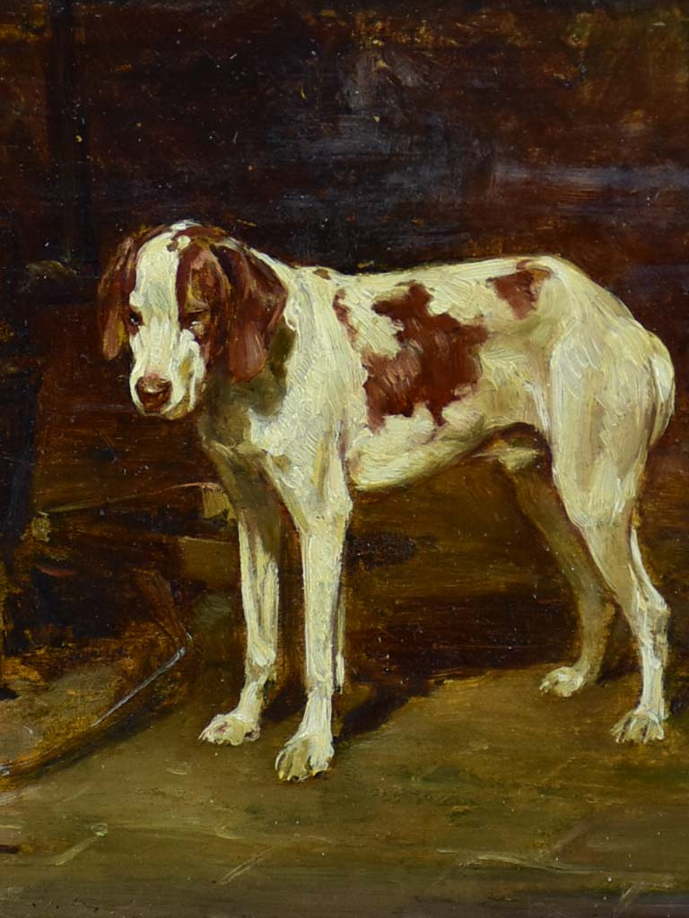 """Dog beside the hearth"" - Chien devant l'âtre, Auguste Vimar (1851-1916) 12¼"" x 13½"""