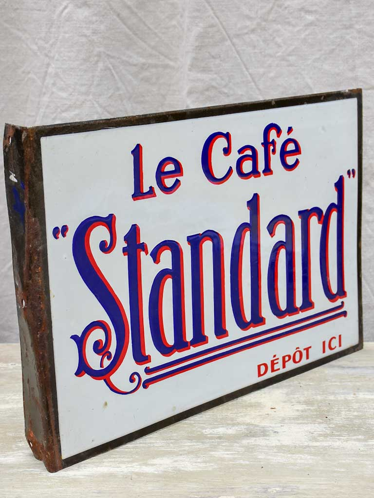 Antique French enamel sign for a café - La café Standard