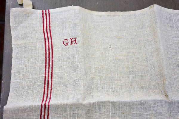 Six French tea towels with GH monogram