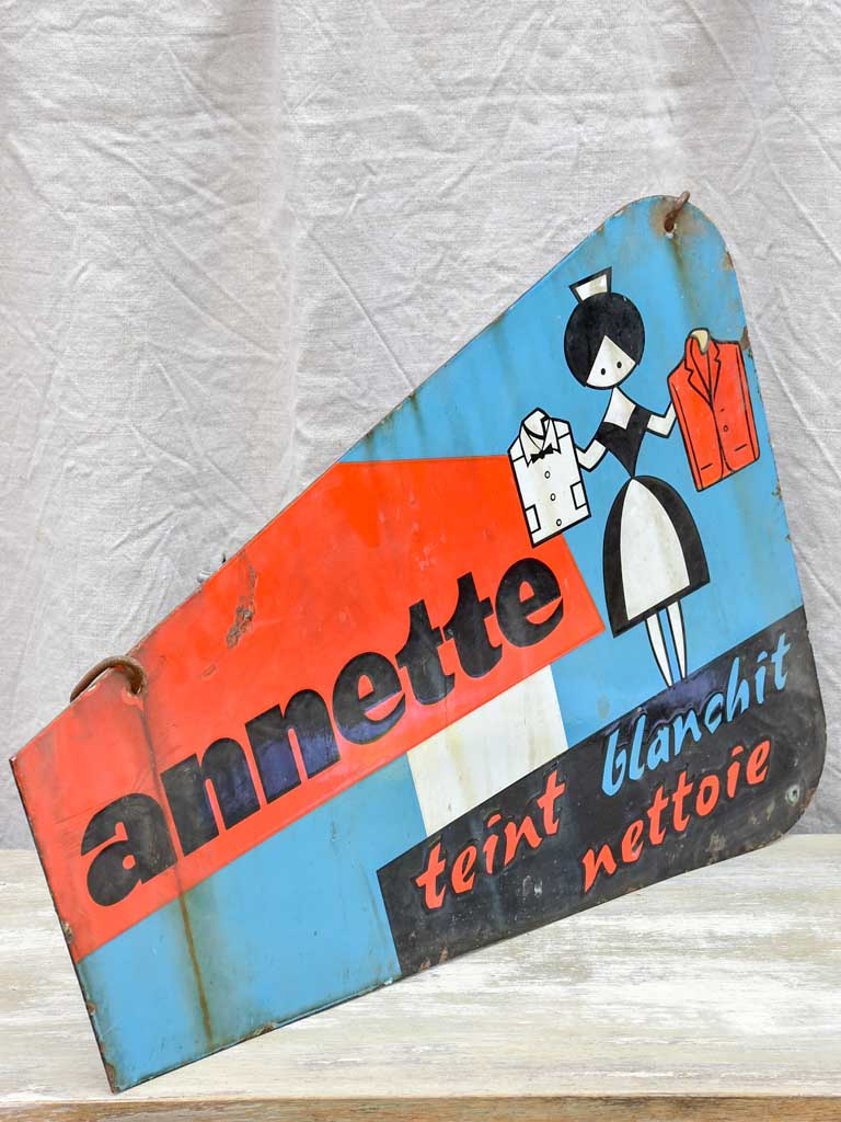 "Antique French sign - Annette laundry 27½"" x 19¾"""