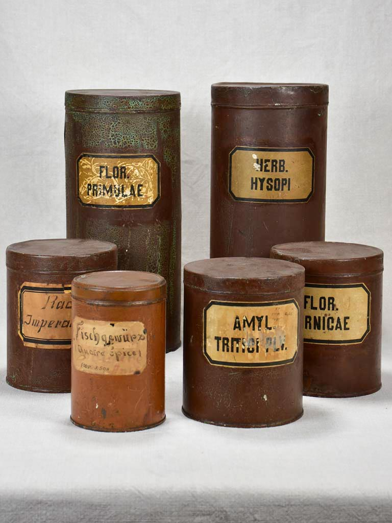 "Collection of six herbalist's tins - 1900's 6¾"" - 15"""