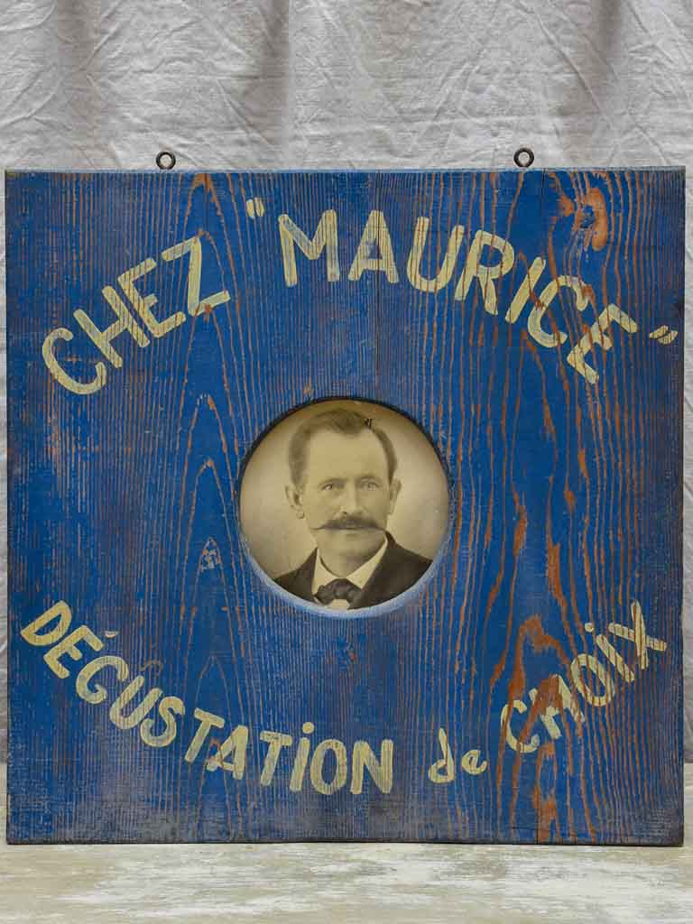 Antique French wooden sign - Chez Maurice
