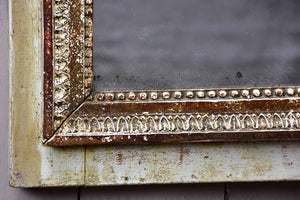 "Pretty Louis XVI trumeau mirror with navy blue and fatigued gilding 25½"" x 53½"""
