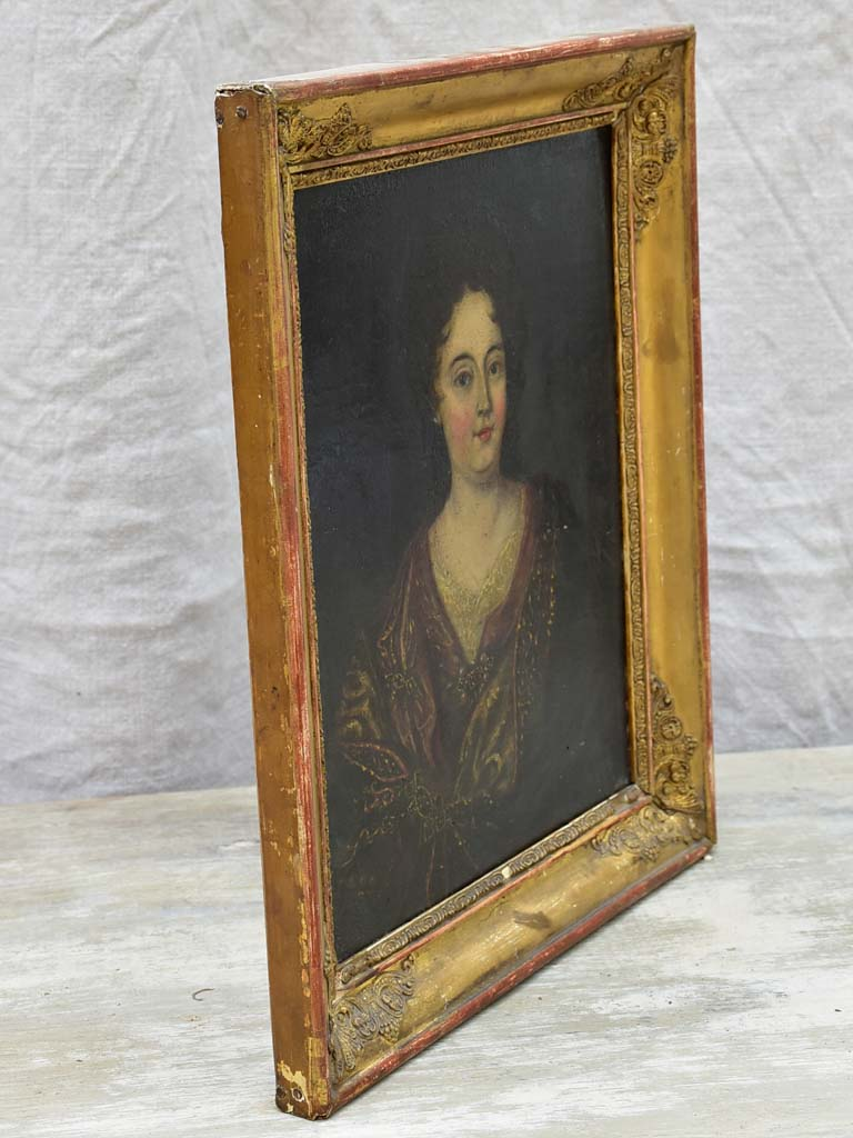 Antique French portrait of a lady in pretty gilded frame - oil