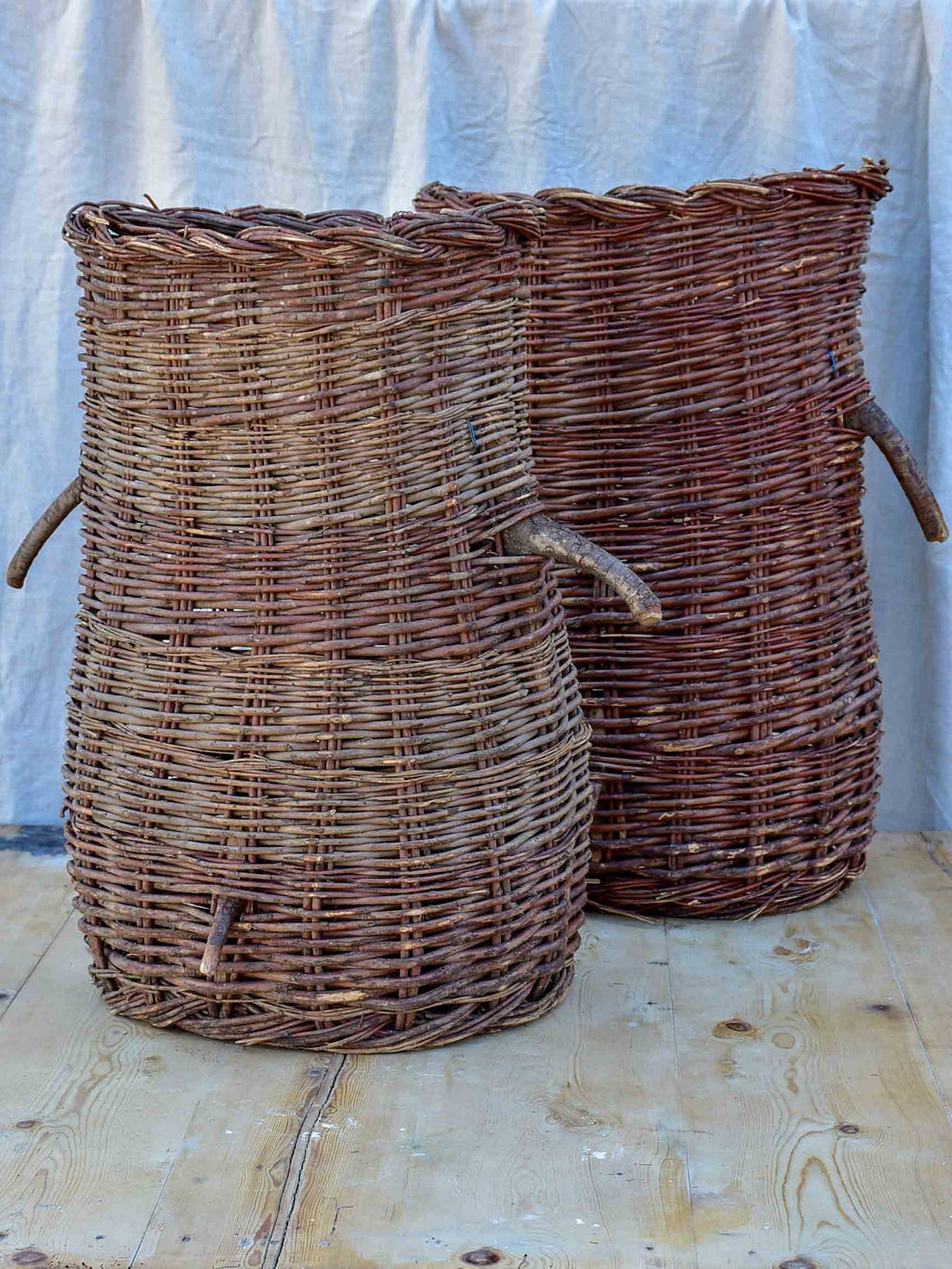 Pair of vintage French harvest baskets - large